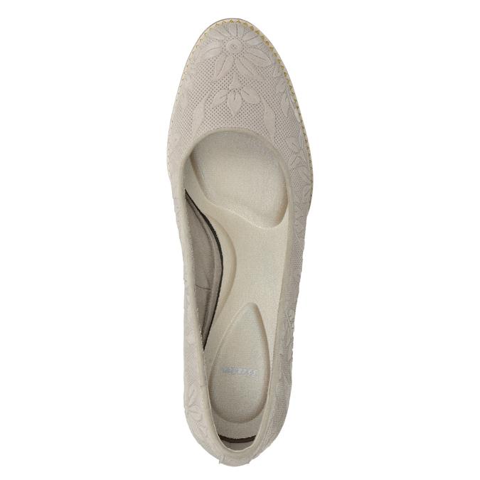 Skórzane czółenka damskie zplastycznym wzorem pillow-padding, szary, 726-2650 - 15