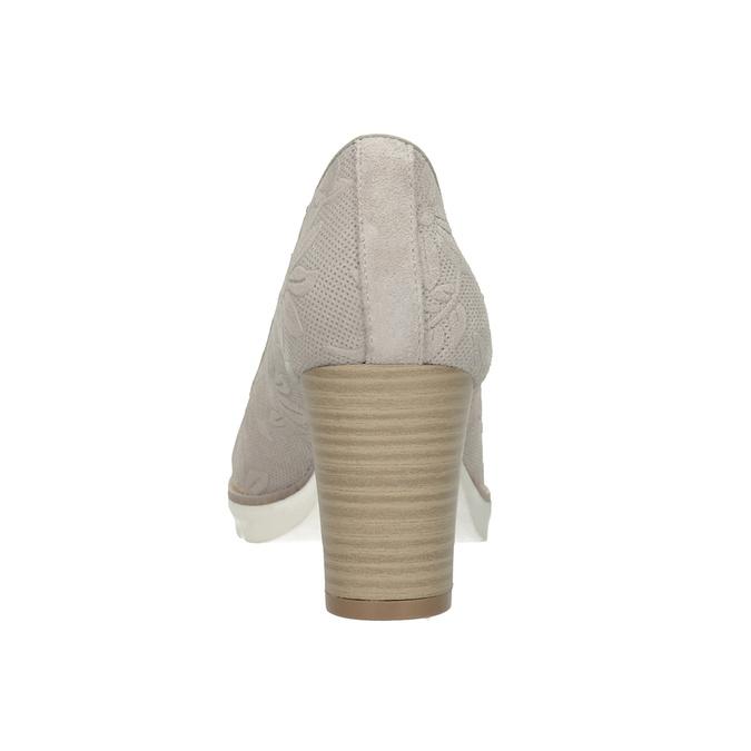 Skórzane czółenka damskie zplastycznym wzorem pillow-padding, szary, 726-2650 - 16