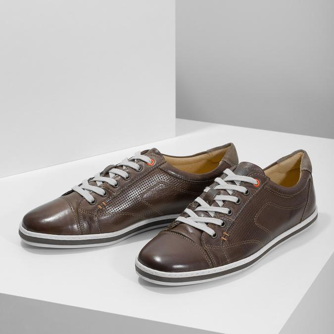 Męskie skórzane buty sportowe bata, brązowy, 846-4617 - 16