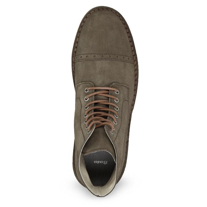 Zamszowe obuwie za kostkę bata, khaki, 823-7629 - 17