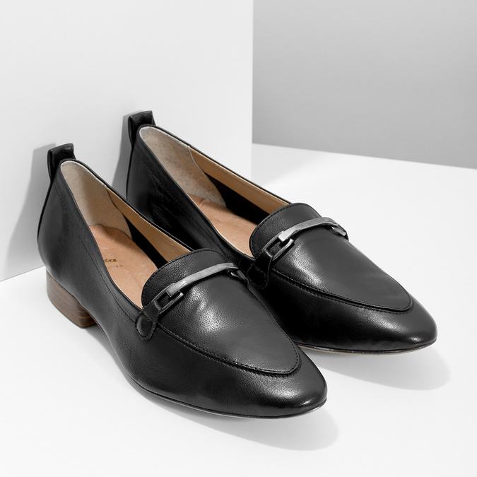 Skórzane mokasyny damskie zwędzidłami bata, czarny, 516-6619 - 26
