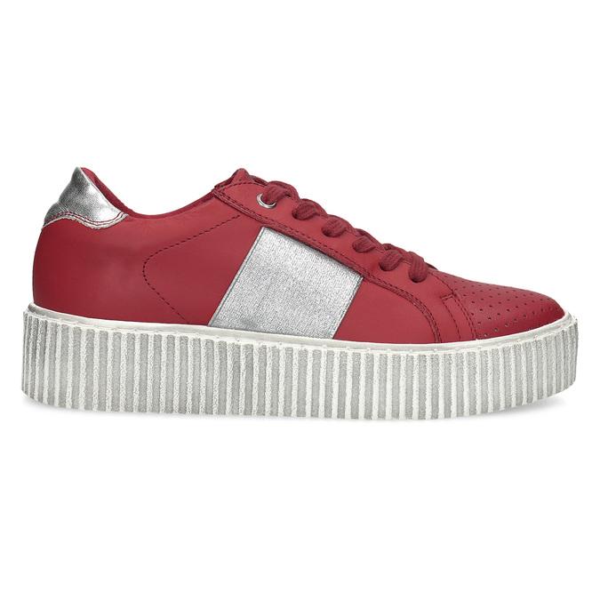 Czerwone skórzane trampki na platformie bata, czerwony, 546-5616 - 19