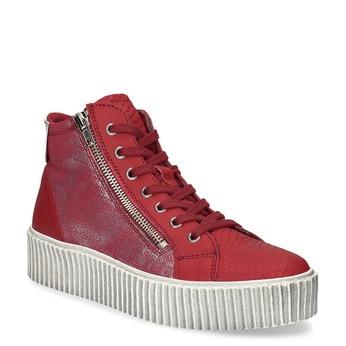Czerwone skórzane trampki za kostkę bata, czerwony, 596-5692 - 13