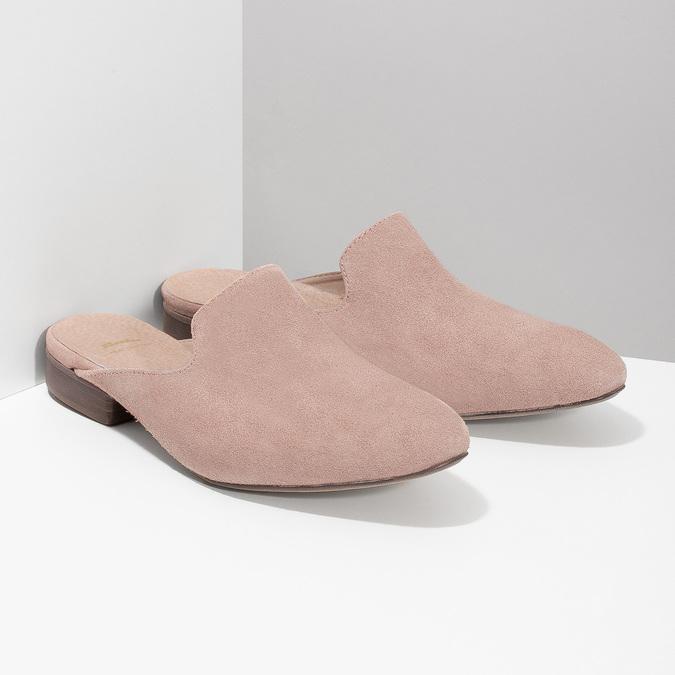 Skórzane mokasyny bez pięty bata, różowy, 516-5620 - 26