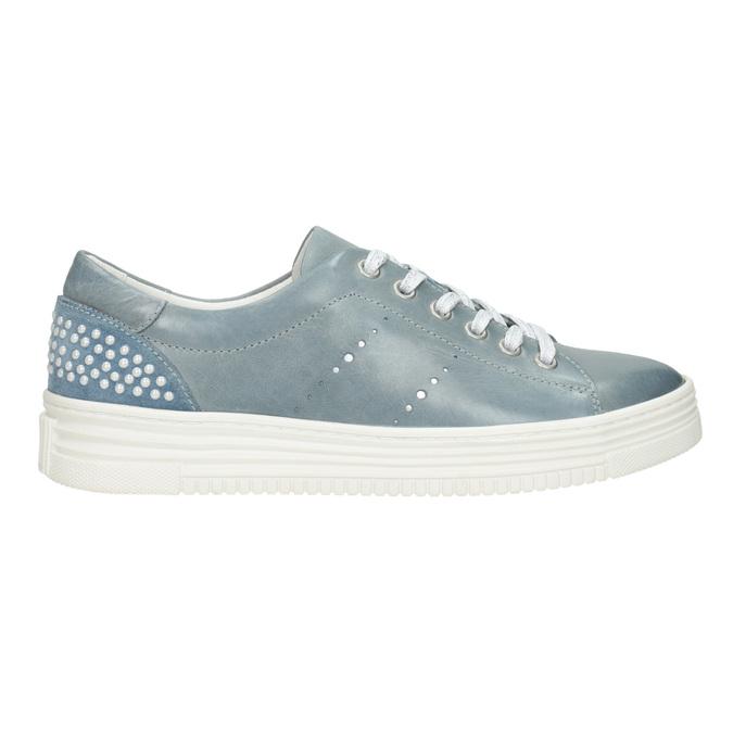 Skórzane trampki damskie zperełkami bata, niebieski, 546-9606 - 26