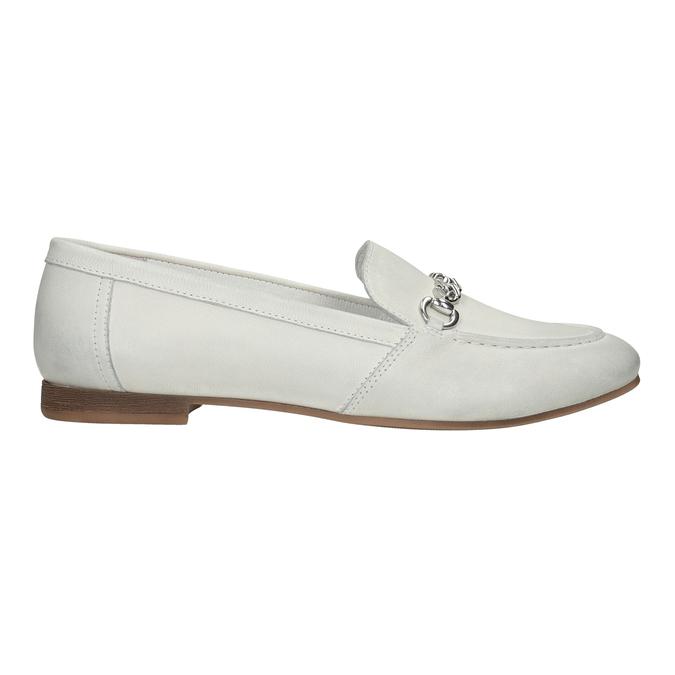 Skórzane mokasyny damskie zwędzidłami bata, biały, 516-1615 - 26