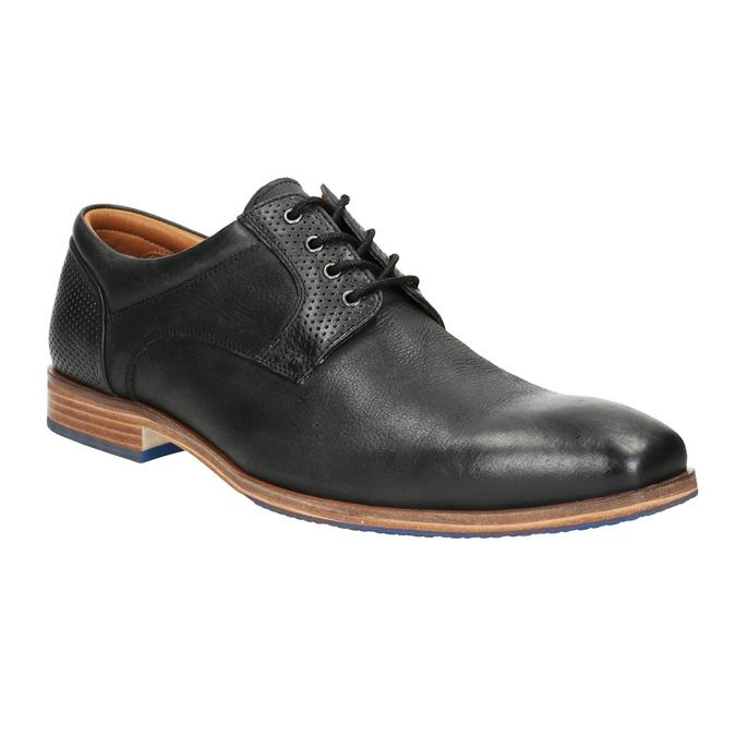 Skórzane półbuty zniebieską podeszwą bata, czarny, 824-6631 - 13