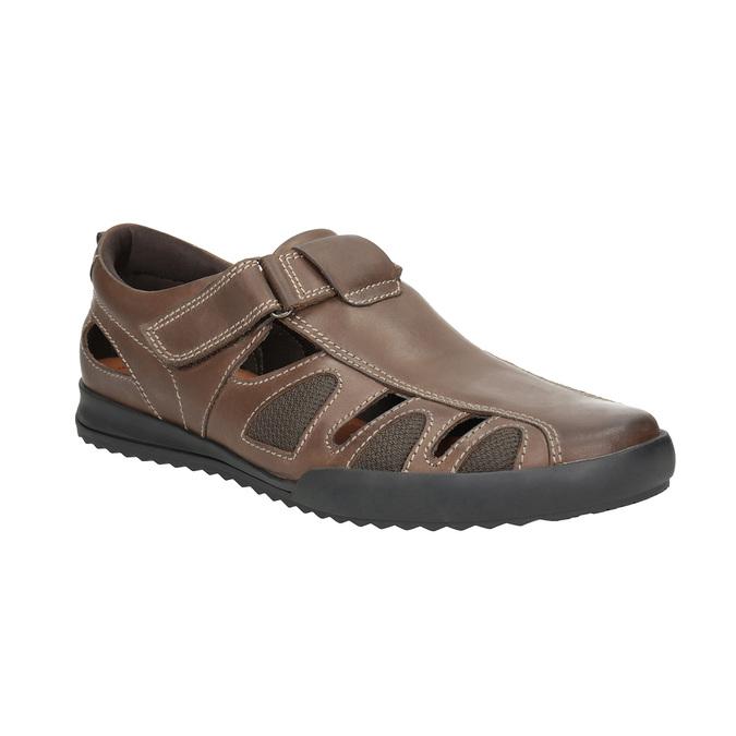 Skórzane sandały męskie comfit, brązowy, 856-4605 - 13