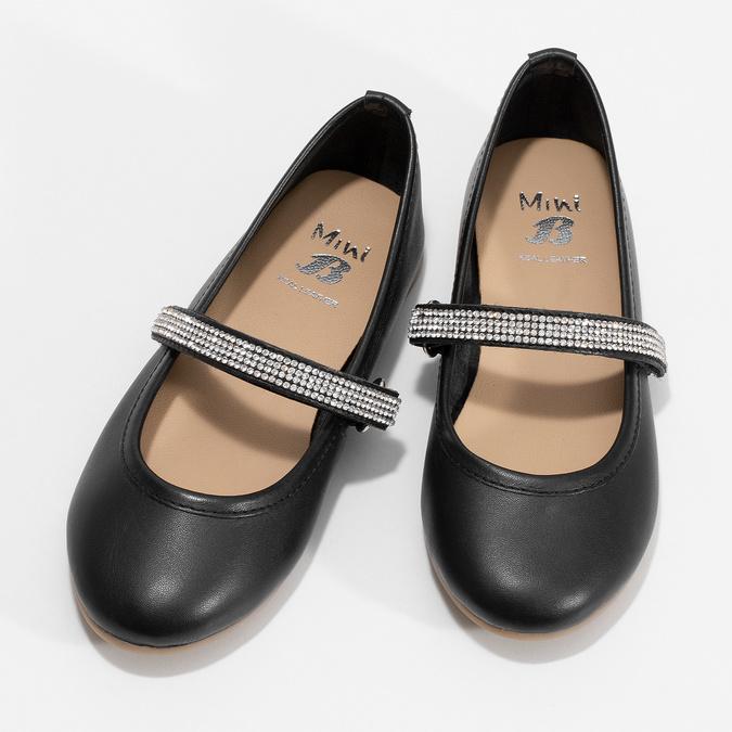 Czarne skórzane baleriny dziewczęce zpaskiem zkryształków mini-b, czarny, 326-6601 - 16