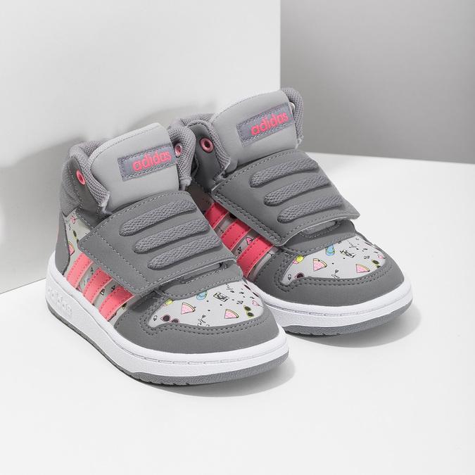Szare trampki wdeseń, za kostkę adidas, szary, 101-2125 - 26