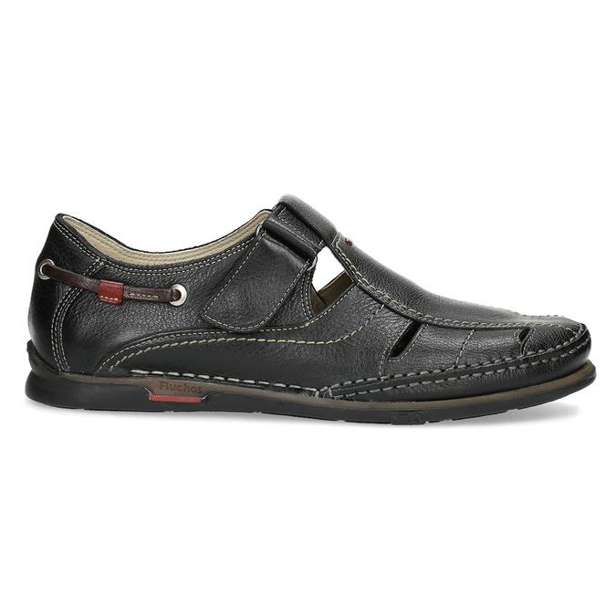 Skórzane sandały zprzeszyciami fluchos, czarny, 864-6605 - 19