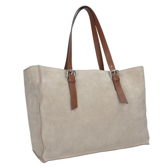 Beżowo-brązowa skórzana torebka bata, beżowy, 963-8194 - 13