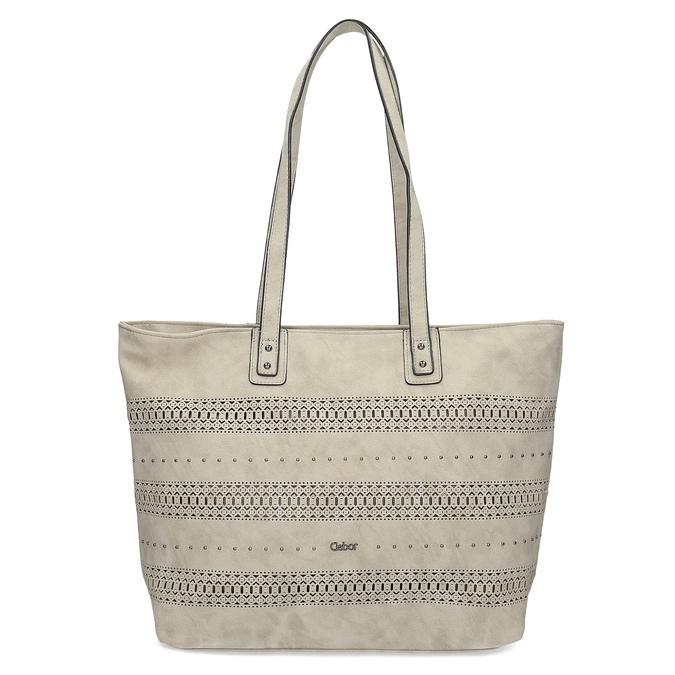 Beżowa torebka typu shopper zperforowanym wzorem gabor-bags, beżowy, 961-8442 - 26