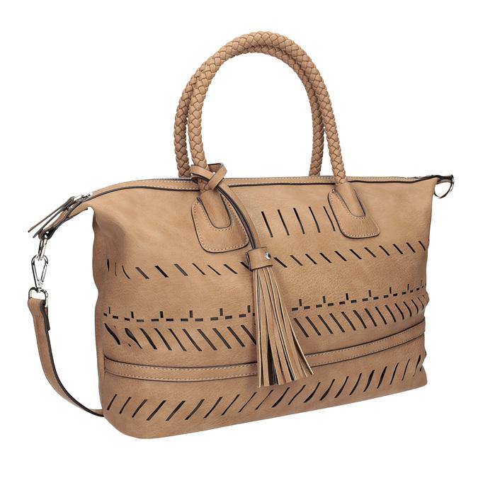Brązowa torebka damska zperforowanym wzorem bata, brązowy, 961-4827 - 13