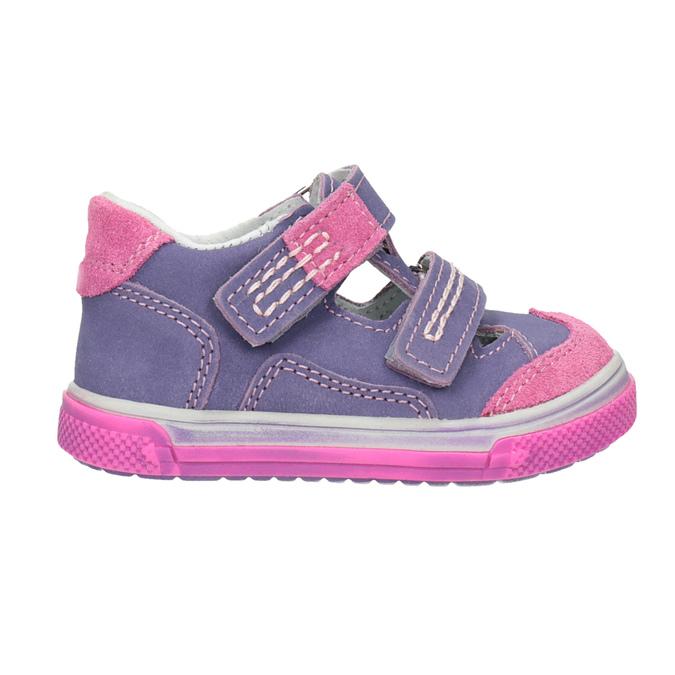 Skórzane buty dziecięce na rzepy bubblegummer, fioletowy, 126-9601 - 26