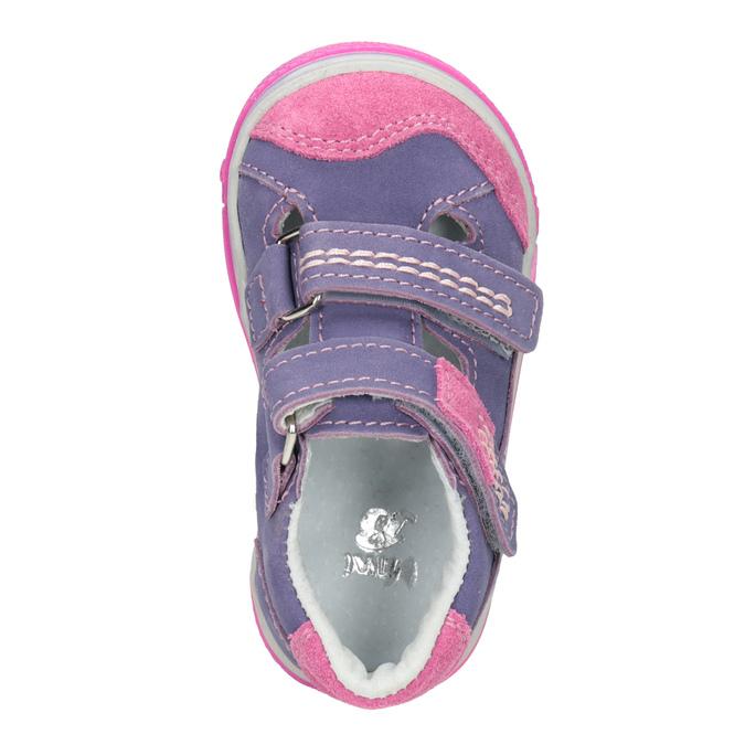 Skórzane buty dziecięce na rzepy bubblegummer, fioletowy, 126-9601 - 15
