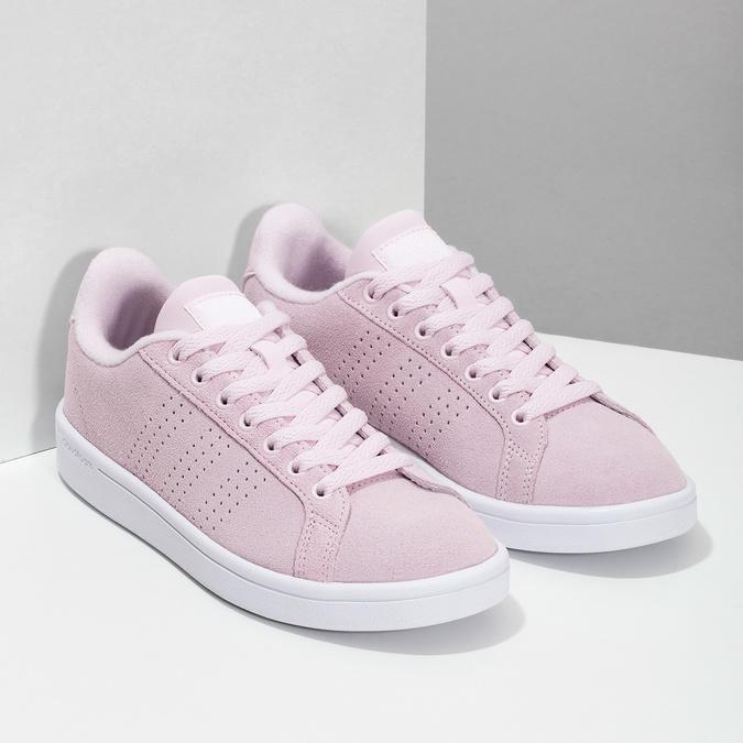 Różowe skórzane trampki damskie adidas, różowy, 503-5478 - 26