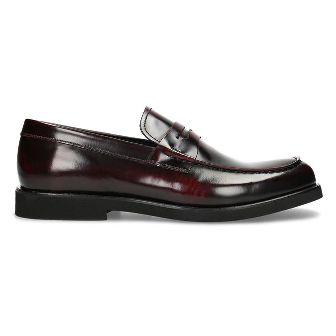 Skórzane mokasyny męskie oczerwonym połysku bata, czerwony, 814-5177 - 19
