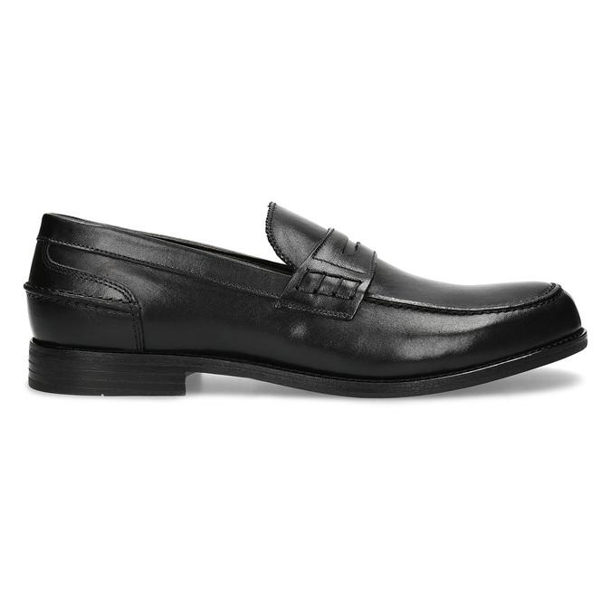 Czarne skórzane mokasyny męskie bata, czarny, 814-6128 - 19