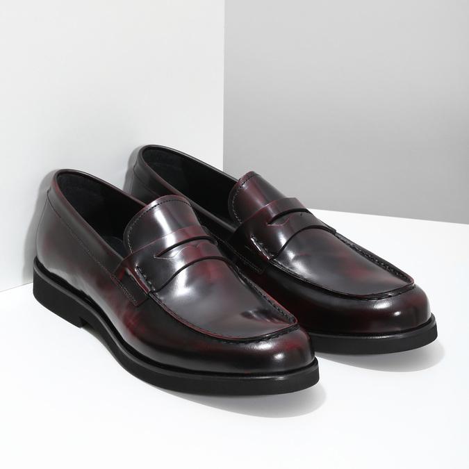 Skórzane mokasyny męskie oczerwonym połysku bata, czerwony, 814-5177 - 26