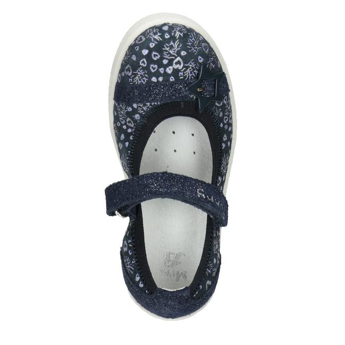 Skórzane baleriny dziewczęce zpaskami mini-b, niebieski, 223-9600 - 15