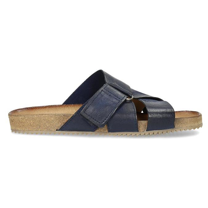 Granatowe skórzane klapki bata, niebieski, 866-9647 - 19