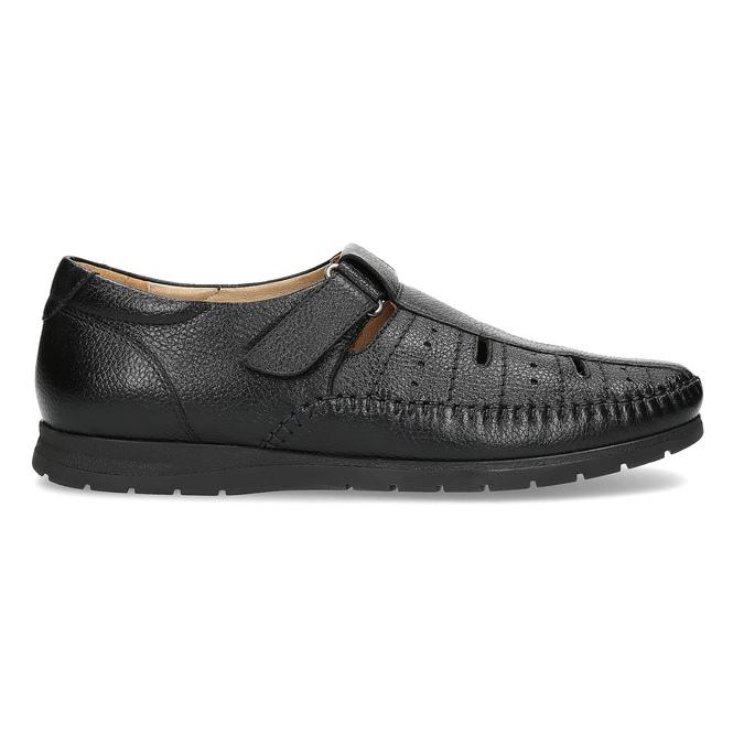 Czarne skórzane sandały męskie na wygodnej podeszwie comfit, czarny, 854-6602 - 19
