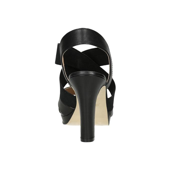 Czarne skórzane sandały na obcasach, zelastycznymi paskami insolia, czarny, 766-6606 - 15