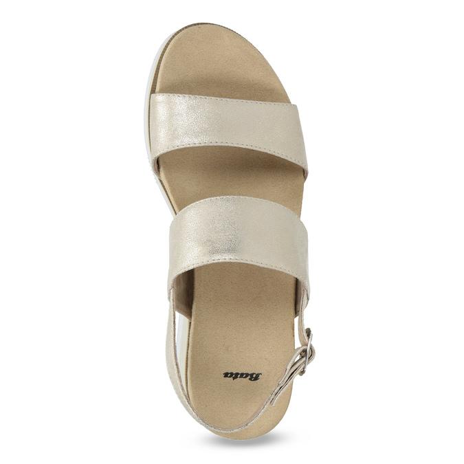 Beżowe metaliczne sandały damskie na platformie bata, złoty, 761-8632 - 17