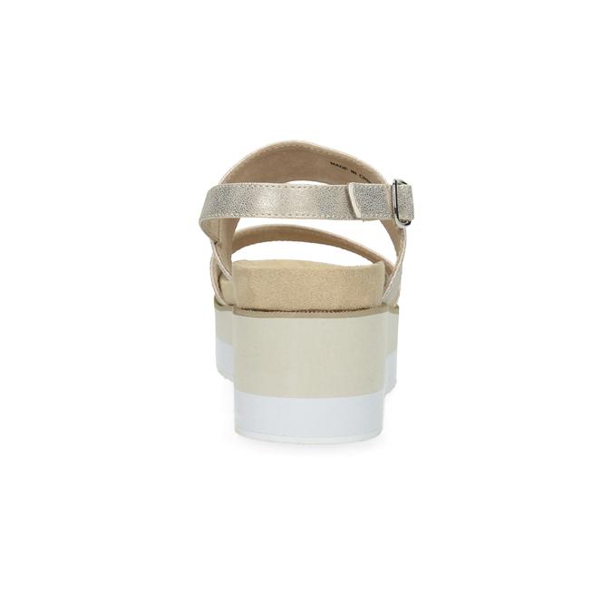 Beżowe metaliczne sandały damskie na platformie bata, złoty, 761-8632 - 15