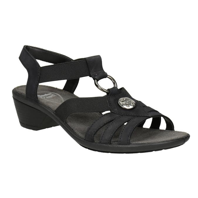 Czarne skórzane sandały damskie comfit, czarny, 666-6619 - 13