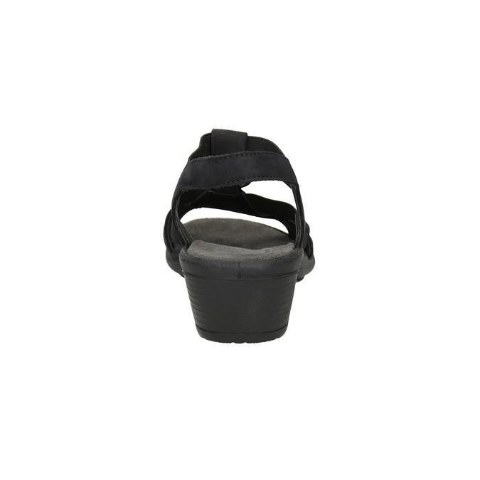 Czarne skórzane sandały damskie comfit, czarny, 666-6619 - 15