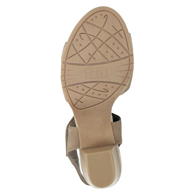 Skórzane sandały oszerokościH zkryształkami bata, beżowy, 666-8616 - 17