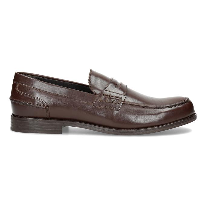 Brązowe skórzane mokasyny męskie bata, brązowy, 814-4128 - 19