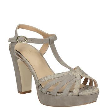 Skórzane sandały damskie na obcasach insolia, beżowy, 766-8605 - 13