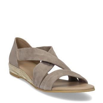 Skórzane sandały na koturnach bata, brązowy, 563-4600 - 13