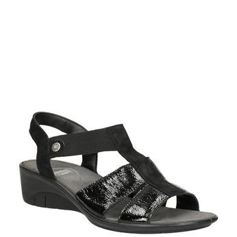 Czarne skórzane sandały na koturnach comfit, czarny, 666-6620 - 13