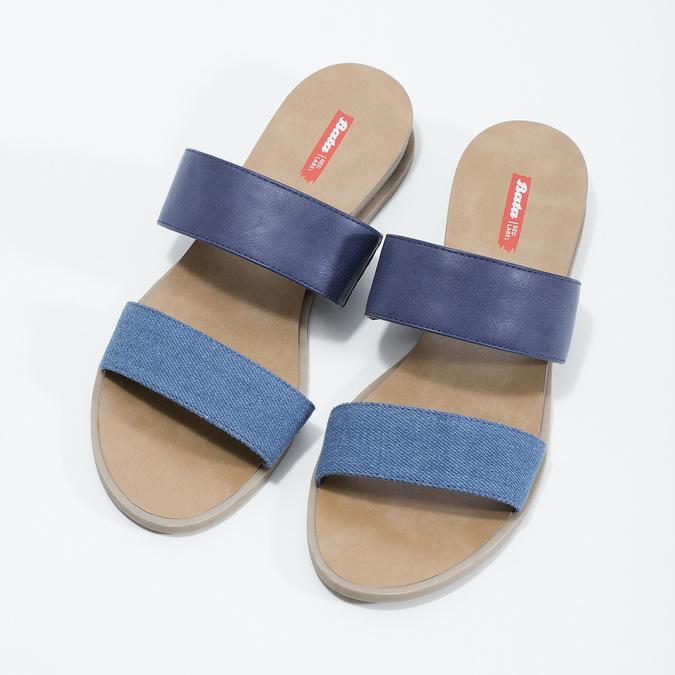 Granatowe klapki damskie na niskich koturnach bata-red-label, niebieski, 561-9609 - 16