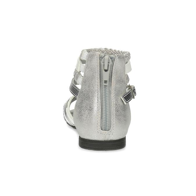 Biało-srebrne sandały dziewczęce mini-b, srebrny, 361-1605 - 15