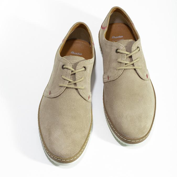 Skórzane beżowe trampki męskie zperforacją bata, beżowy, 823-8617 - 16