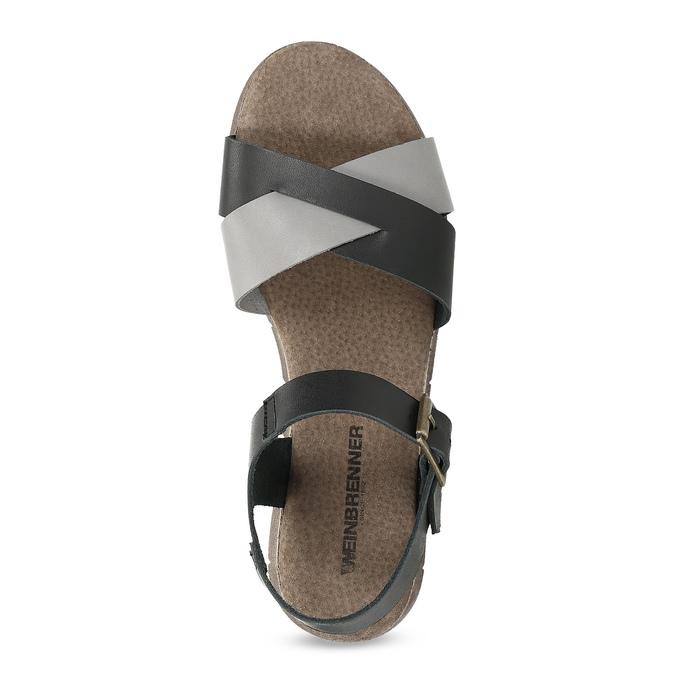 Szaro-czarne skórzane sandały damskie weinbrenner, czarny, 566-6641 - 17