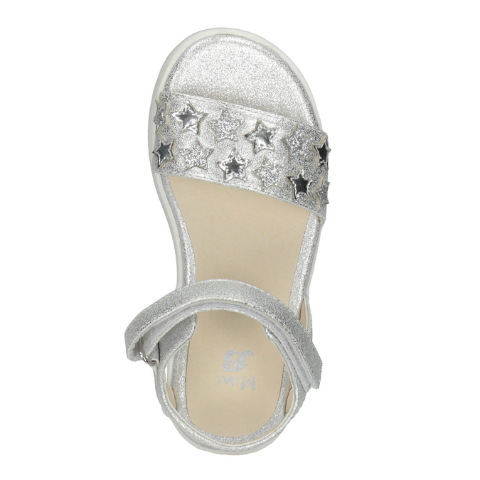 Srebrne sandały dziewczęce zgwiazdkami mini-b, biały, 261-1211 - 17