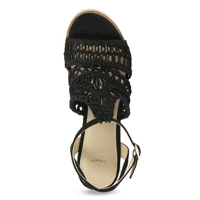Czarne wyplatane sandały na platformie bata, czarny, 759-6633 - 17