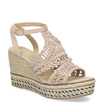 Wyplatane sandały na platformie bata, różowy, 759-8633 - 13