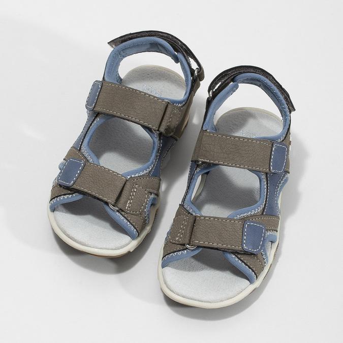 Szaro-błękitne sandały chłopięce zzapięciami na rzepy mini-b, brązowy, 261-3608 - 16