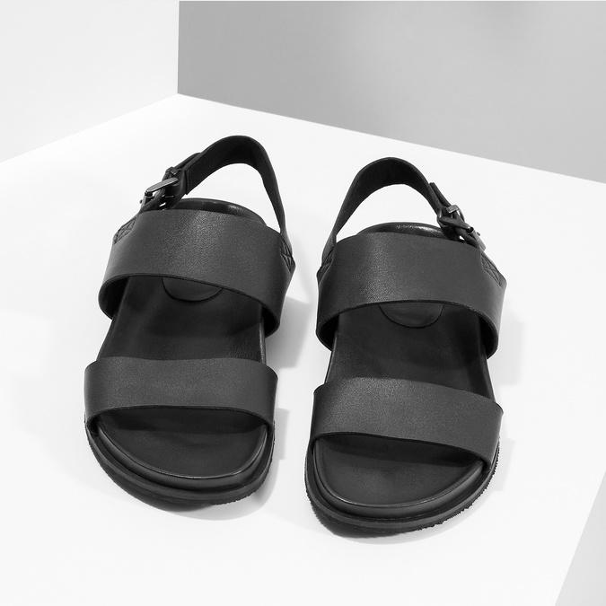 Czarne minimalistyczne sandały męskie ze skóry bata, czarny, 866-6638 - 16