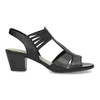 Skórzane sandały na obcasach, oszerokościH bata, czarny, 664-6610 - 19