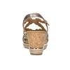 Złote skórzane sandały na platformie gabor, złoty, 766-8043 - 16