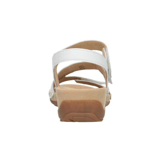 Białe skórzane sandały na rzepy gabor, biały, 666-1018 - 16