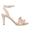Różowe sandały zfalbanką, na szpilkach insolia, różowy, 769-5619 - 19